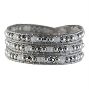 Picture of Titanium & Pearl Crystal Beaded Wrap