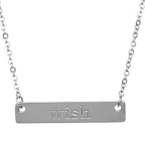 Picture of Silver 'Wish' Bar Necklace - 16""